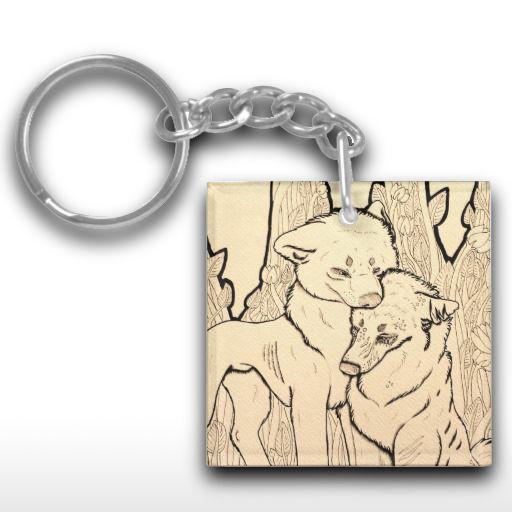 """Ugly"" Sad wolf couple Keychain"