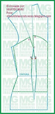 Trazado básico de Corset o Corsé. Delantero Parte II http://www.pinterest.com/belnfernandezal/patronajes-y-costuras/