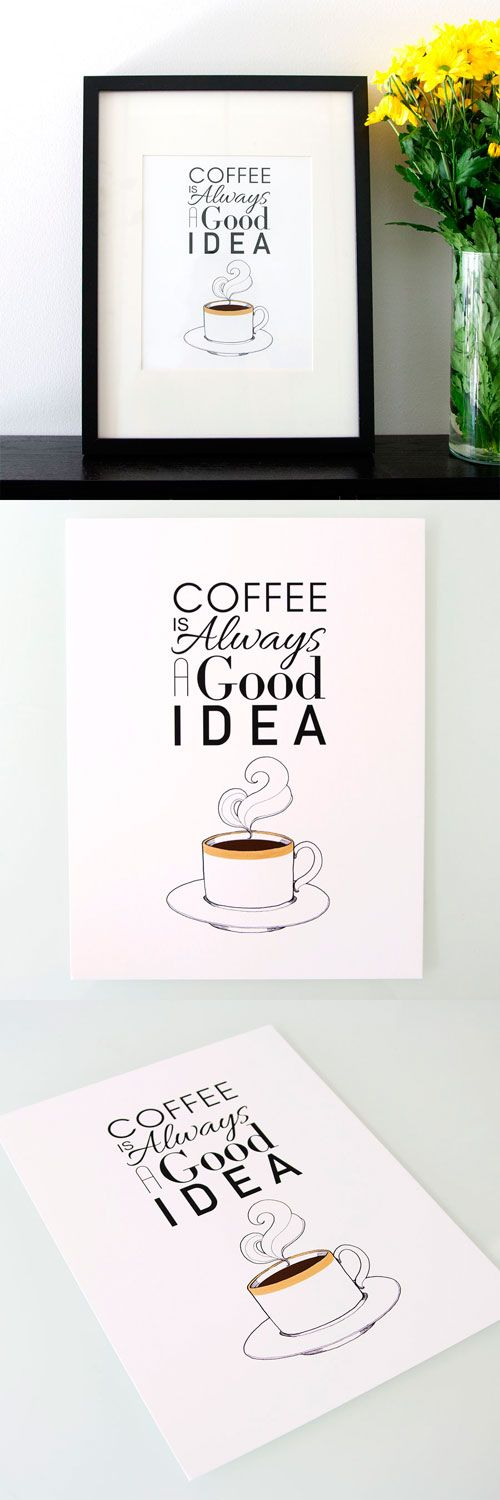 Coffee Quote - Coffee Quote Print with Gold