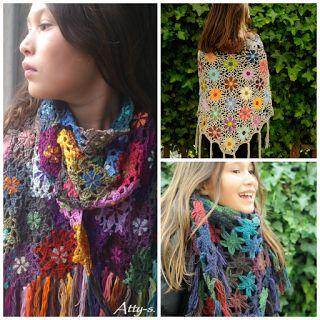 atty's: Merino Soft Flower Shawl Pattern/tutorial skøn hjemmeside med så smukke ting