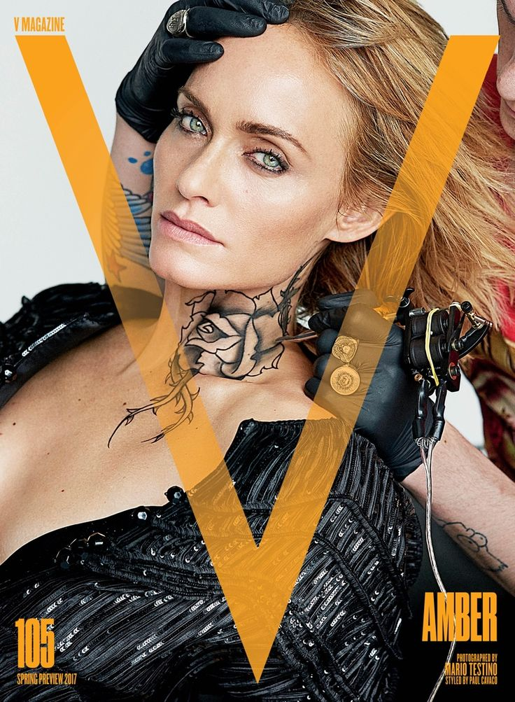Amber Valletta show off temporary tattoos on V Magazine Spring Preview 2017 Cover