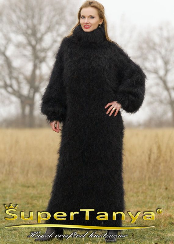 Fuzzy hand knitted long mohair sweater dress slouchy by supertanya