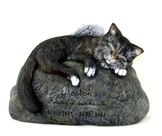 Ceramic Engraved Painted medium haired Cat Cremation Urn - hand made pet urn
