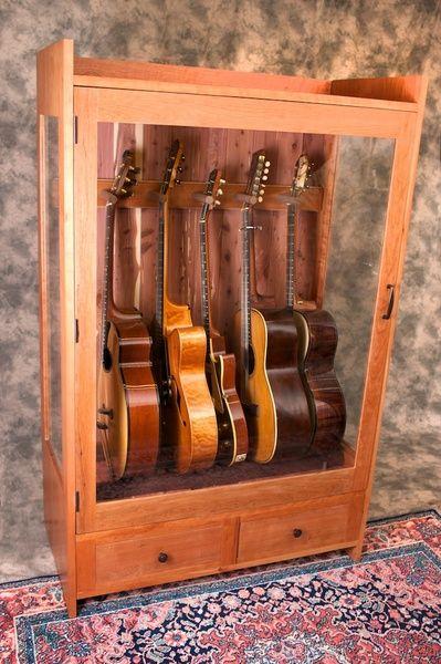 Attractive Humidified Guitar Cabinet, Medium: American Music Furniture, LLC
