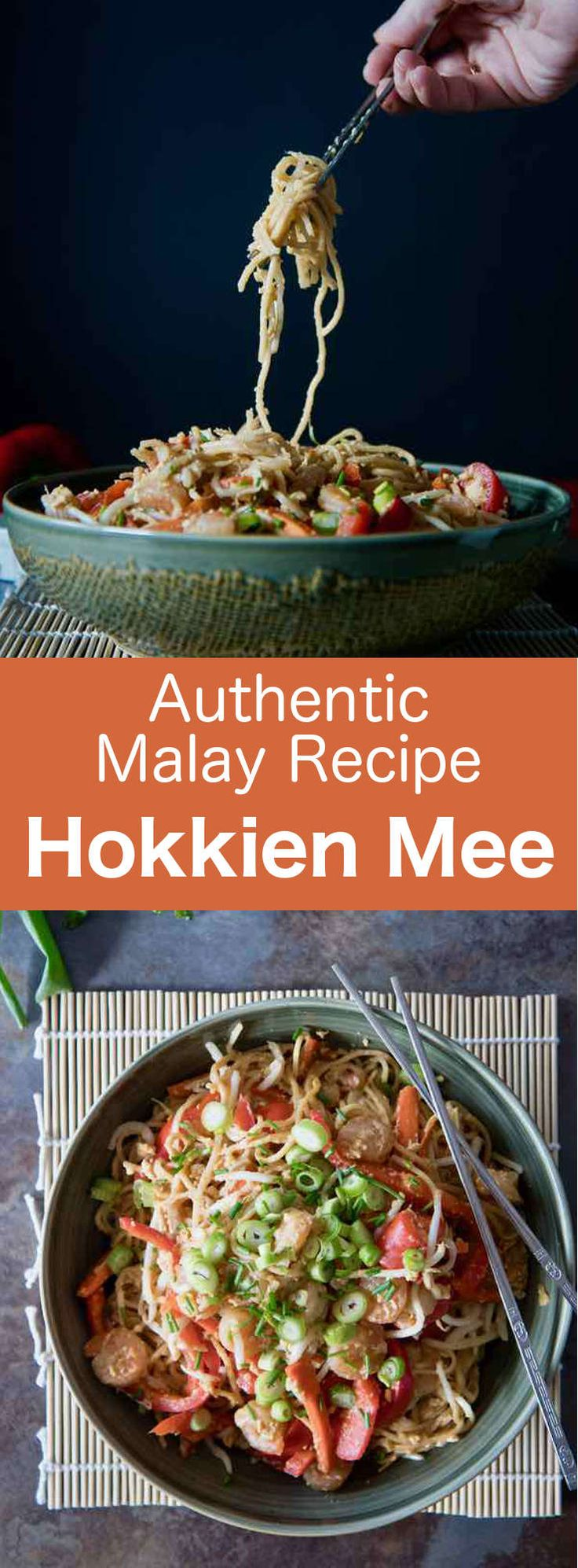 Hokkien mee is a Malaysian dish that consists of egg and rice noodles stir-fried with egg, slices of pork, prawns or squid, and garnished with vegetables. #Malaysia #SouthEastAsia #noodles #196flavors