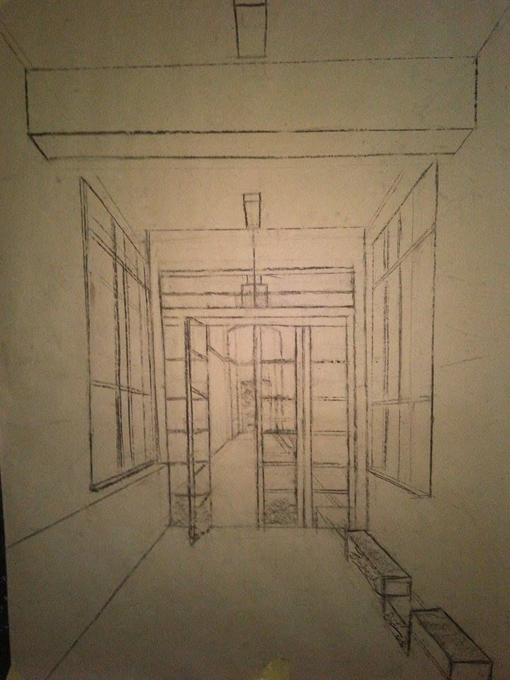 Interior school hallway training perspective