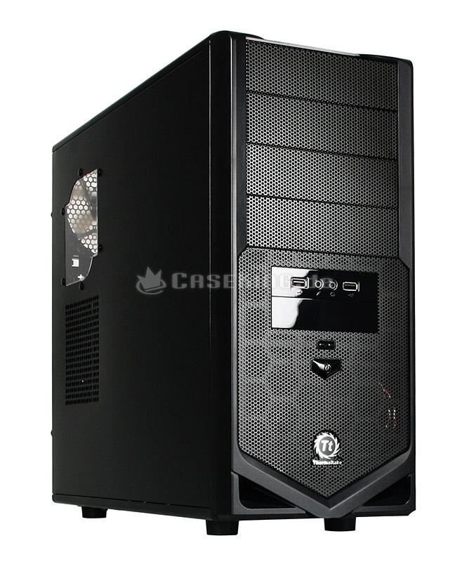 Thermaltake V4 Midi-Tower VM30001W2Z in schwarz. Mit dem V4 richtet sich Thermaltake vor allen an preisbewusste User, die Funktion und Design gleichermaßen wichtig finden und bei Bedarf auch abwärmeintensive Hardware kühlen wollen. Der Aufbau entspricht weitgehend dem V3, welches sich lediglich in der Frontgestaltung unterscheidet. Hier kommt gegenüber dem Schwestermodell mehr Mesh zum Einsatz.