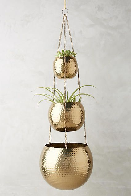 Anthropologie Hammered Trio Plant Hanger