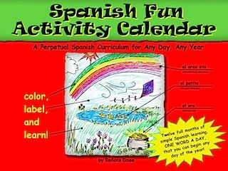 Flip Flop Activity Calendar - also purchased- a different part of a sentence is done each week- so by the end of the week you have a full sentence in Spanish