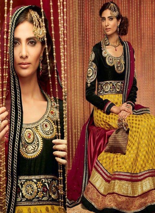 #Mustard & #Black Stylish Look #Suit With #Resham Work