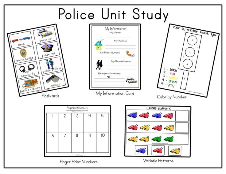 Police Unit:      Flashcards      My information- We will use this to talk about first/last name, emergency numbers, parents names, address and our phone number. This way in case of an emergency they will know what to do!      Color by number Traffic light- We will use this to discuss what the traffic light is for.      Fingerprint Numbers- Using a stamp pad have your little one stamp the appropriate amount of finger prints in each box.      Whistle Patterns- Complete the Patterns