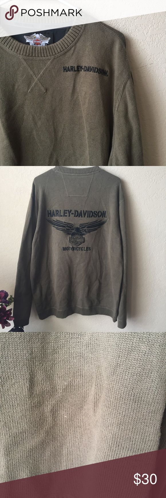 Harley Davidson crewneck olive green sweater Great condition! No rips, two small little marks on front of sweater, see pictures for details. Let me know if you have questions! * sorry for the wrinkles, they will wash fall out* Harley-Davidson Sweaters Crewneck