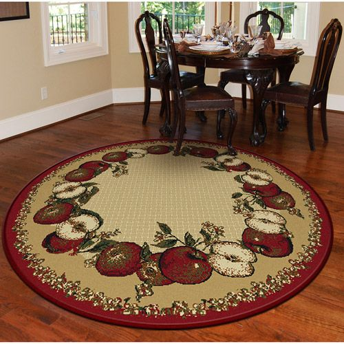 Orian apple border round 63 rug sand house and home - Decorating with area rugs ...