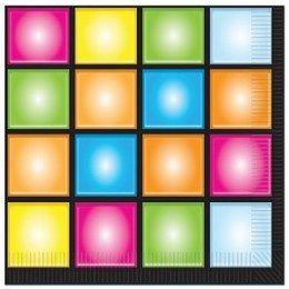 Servetten discowall -  Een pakje met 16 servetten bedrukt met een discowall. Perfect voor seventies en disco themafeesten! Afmeting: 33 x 33cm.