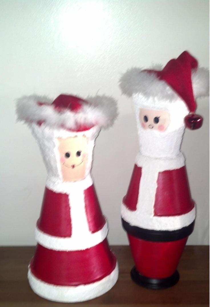 My Mr And Mrs Santa Christmas Clay Pot Crafts Pinterest