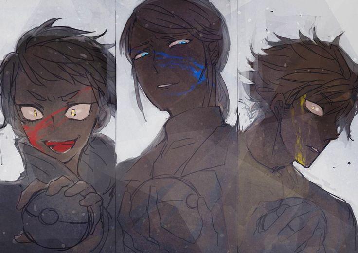 "gloomylunar: ""victory is mine "" I love this dark AU drawing of the team leaders."