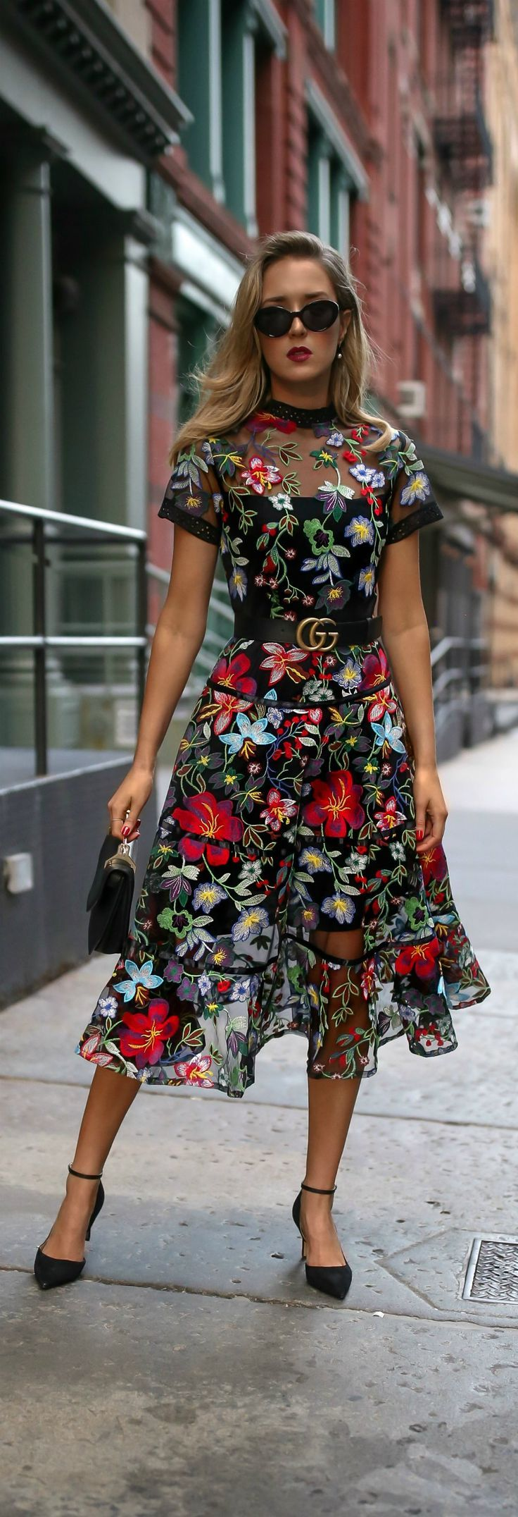 TREND MEMO: Fall Florals //  Floral print embroidered midi dress, leather waist belt, ankle strap pumps, mini shoulder bag, cat eye sunglasses, pearl drop earrings {Anthropologie, Gucci, Sam Edelman, Marc Jacobs, fall winter 2017 trends, fall trends, fashion trends, classic style}
