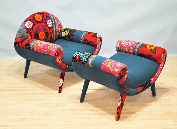 Smiley Patchwork Armchair Turquoise Love Armchairs