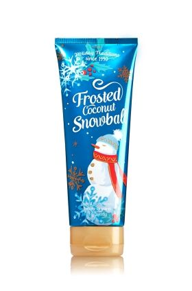 $13.00 Frosted Coconut Snowball - Ultra Shea Body Cream - Signature Collection - Bath & Body Works - Infused with luxuriously rich Shea Butter, our Ultra Shea Body Cream provides 24 hours of nourishing moisture. With soothing Aloe Butter, pampering Cocoa Butter and more Shea than ever before, our non-greasy formula melts into skin to provide beautiful fragrance and all day, all night hydration.