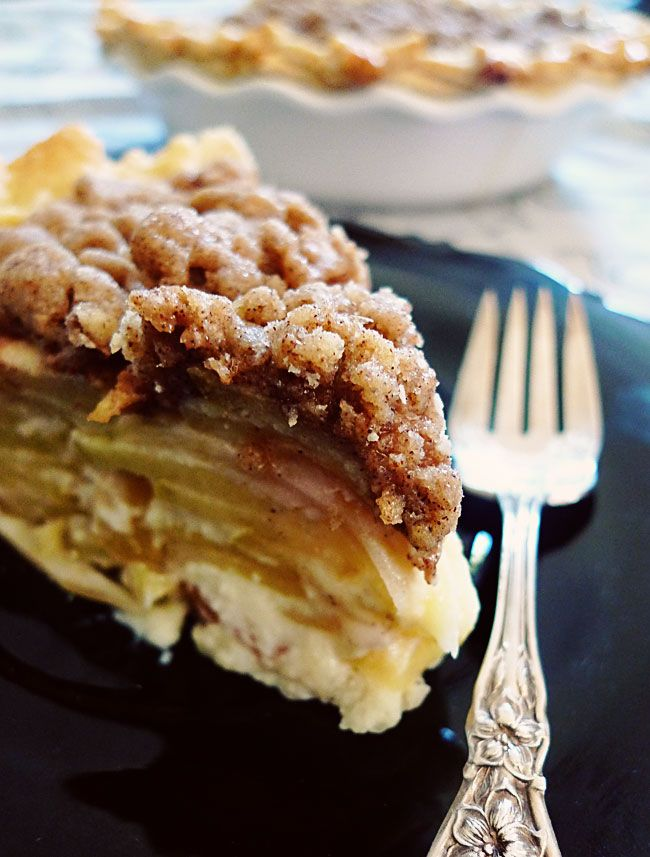 "Sour Cream Streusel Apple Pie...""This is my favorite apple pie recipe. I love the sweet streusel topping and the apples layered with just the hint of sour cream. Try it once, and it'll be your favorite too!"""