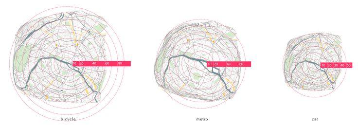 Sur cette carte de Paris deux endroits que l'on peut rejoindre dans le même temps à partir du centre sont situés à la même distance.  Elles permettent aussi de voir les différences de temps de trajets entre vélo, métro et voiture.
