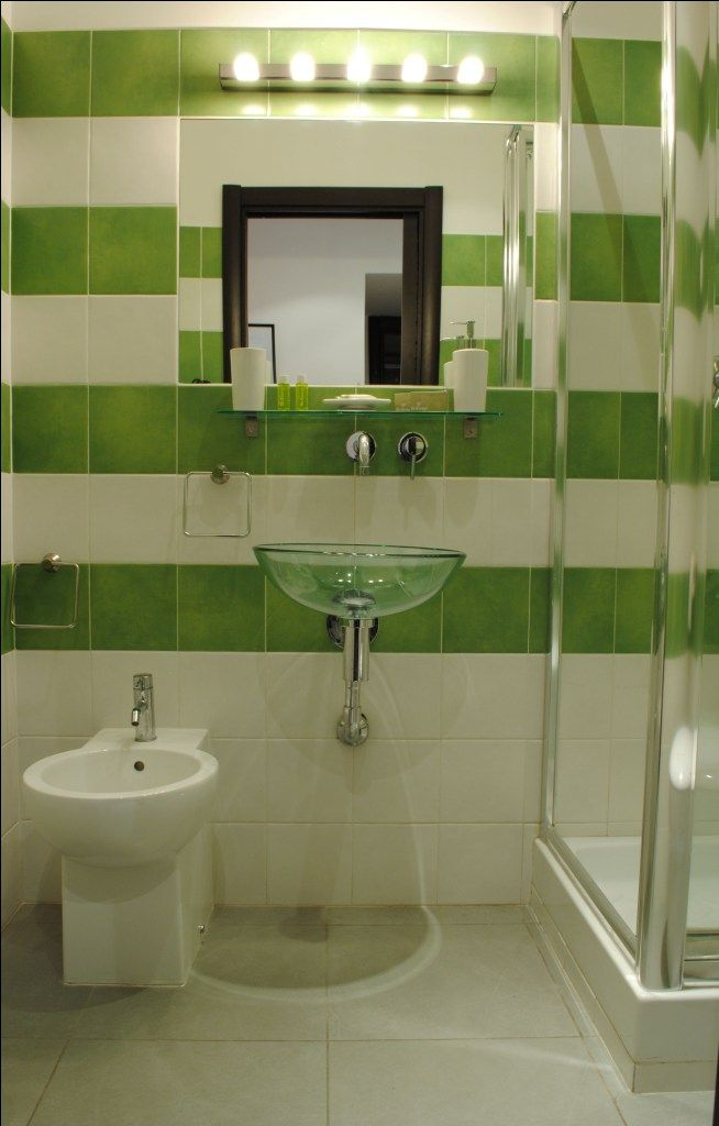 Bold Green And White Tile Stripes
