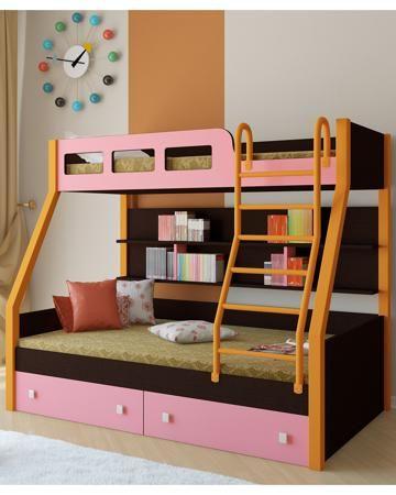 РВ мебель Рио каркас венге/оранжевый розовая  — 21900р. -------- Двухъярусная кровать Рио каркас венге/оранжевый розовая РВ мебель позволит вам значительно сэкономить жизненное пространство и обеспечить два полноценных спальных места.