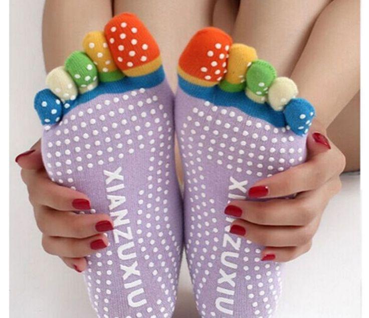 Yoga Colorido Anti Resbalón Calcetines de Dedo Desodorante Calcetines de Dedo de Pie y Transpirable DST-500091