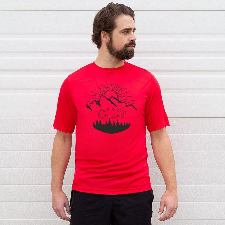 Herren Running Kurzarm Tech T-Shirt – Life's Short Run Long (Berge) | Rot, AXL, männlich   – Products
