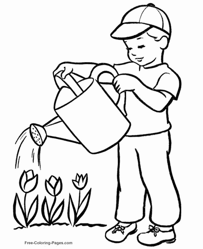 Watering Can Coloring Page Lovely Watering Can Drawing At