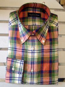 マドラスチェックが可愛いリネン素材のシャツです(^^)|結婚式の新郎タキシード|新郎衣装はメンズブライダルへ