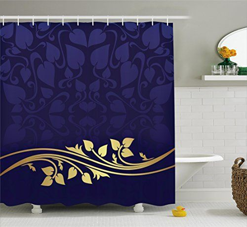 Navy Blue Decor Shower Curtain by Ambesonne, Romantic Royal Leaf Pattern  with Golden Floral Branch - Top 25+ Best Navy Blue Shower Curtain Ideas On Pinterest