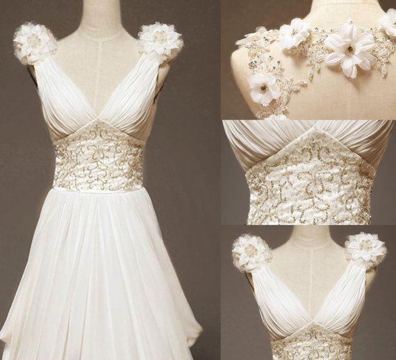 Custom make Vintage Beach Wedding Dress Bridal Gown by wonderxue, $309.00