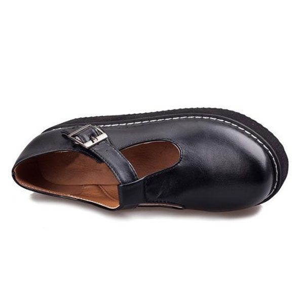 Women Flats Creeper T-Straps Round Toe High Platform Shoes - US$18.73