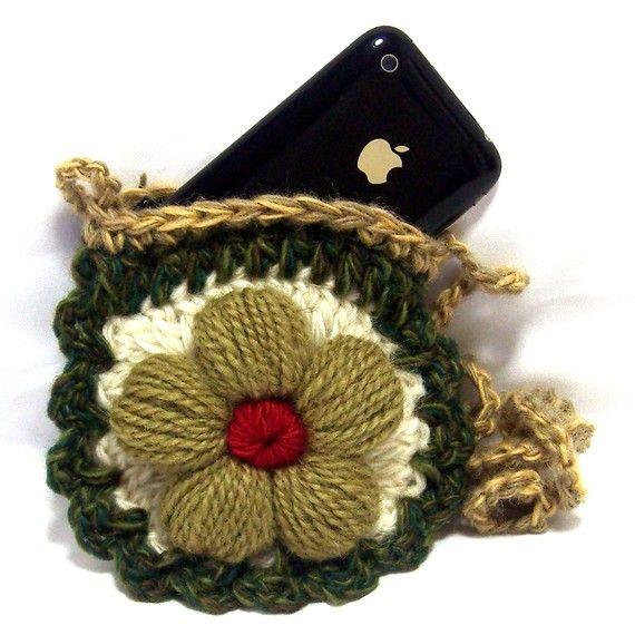 Petite Flower Crochet Mini Purse Shoulder Pouch Bag - Very Cute - Fits I-Phones