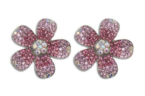 Sassy Clips 2 Tone Plumeria with Rose Crystal Rhinestones Inner Edge of Petals -- Click on the image for additional details.(This is an Amazon affiliate link and I receive a commission for the sales)