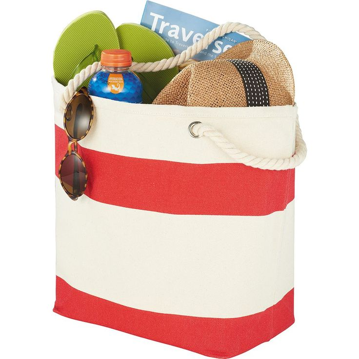 Show your stripes with this sturdy nautical tote, perfect for the beach or getting around on the weekend. Open main compartment.