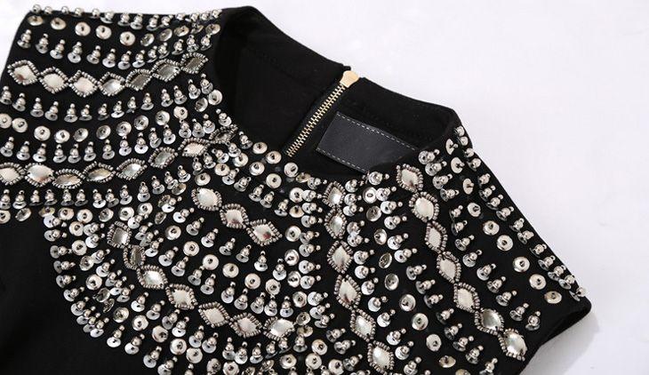 Ağır El Perçin boncuk İnce bel ince siyah yarım yaka kolsuz elbise Bahar kadın payetli - Taobao