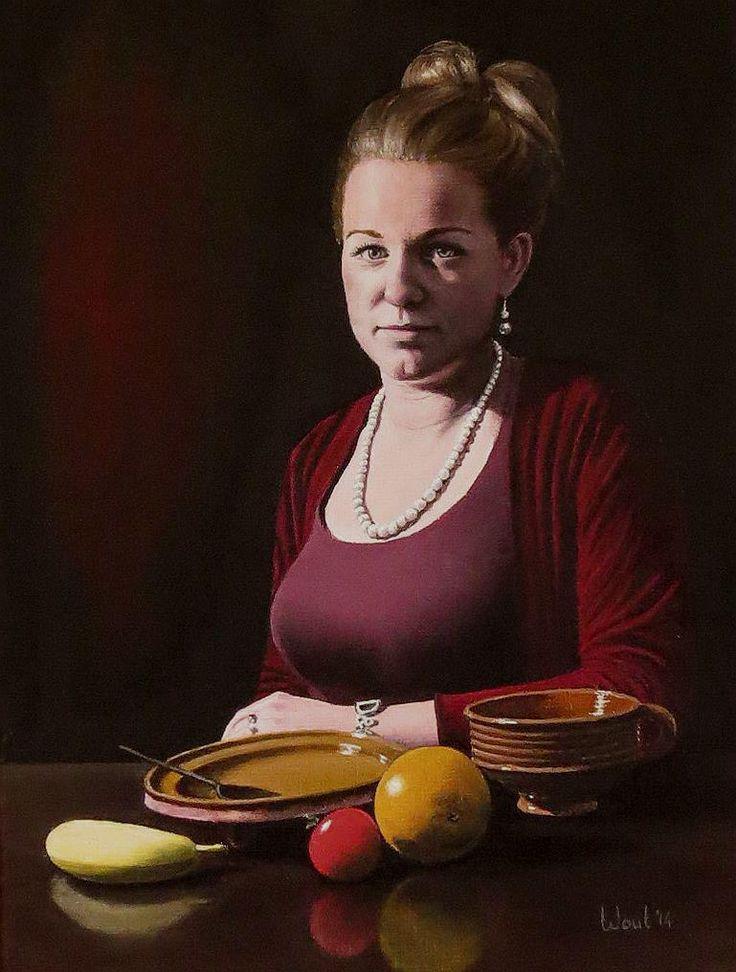 Wout de Jong. Portret en stilleven Portret van een jonge vrouw met een stilleven van fruit en oude gebruiksvoorwerpen, olieverf op doek