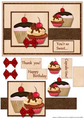 Cupcakes in cream brown on Craftsuprint designed by Marijke Kok - Great card for any 'sweet'occasion!