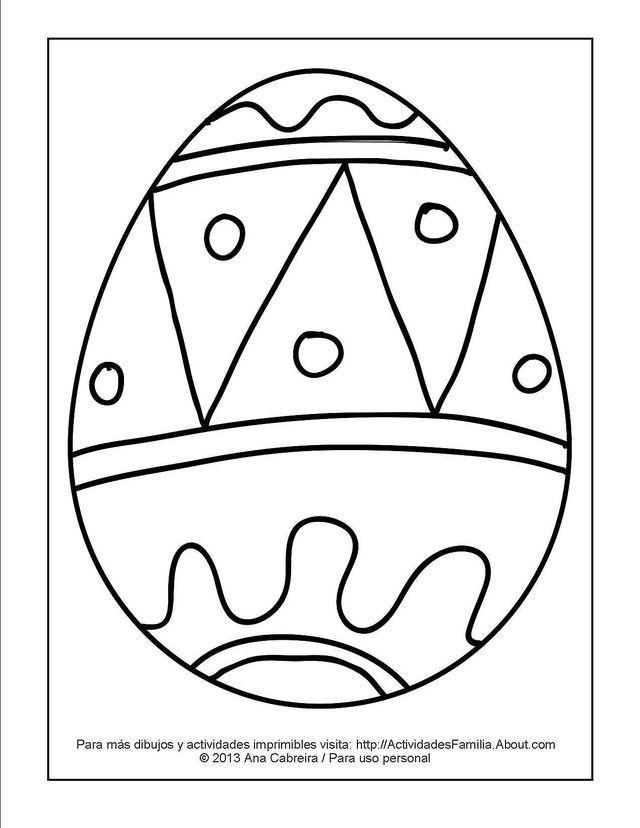 10 Lindos dibujos de pascua de resurrección para colorear en familia: Huevito de pascua