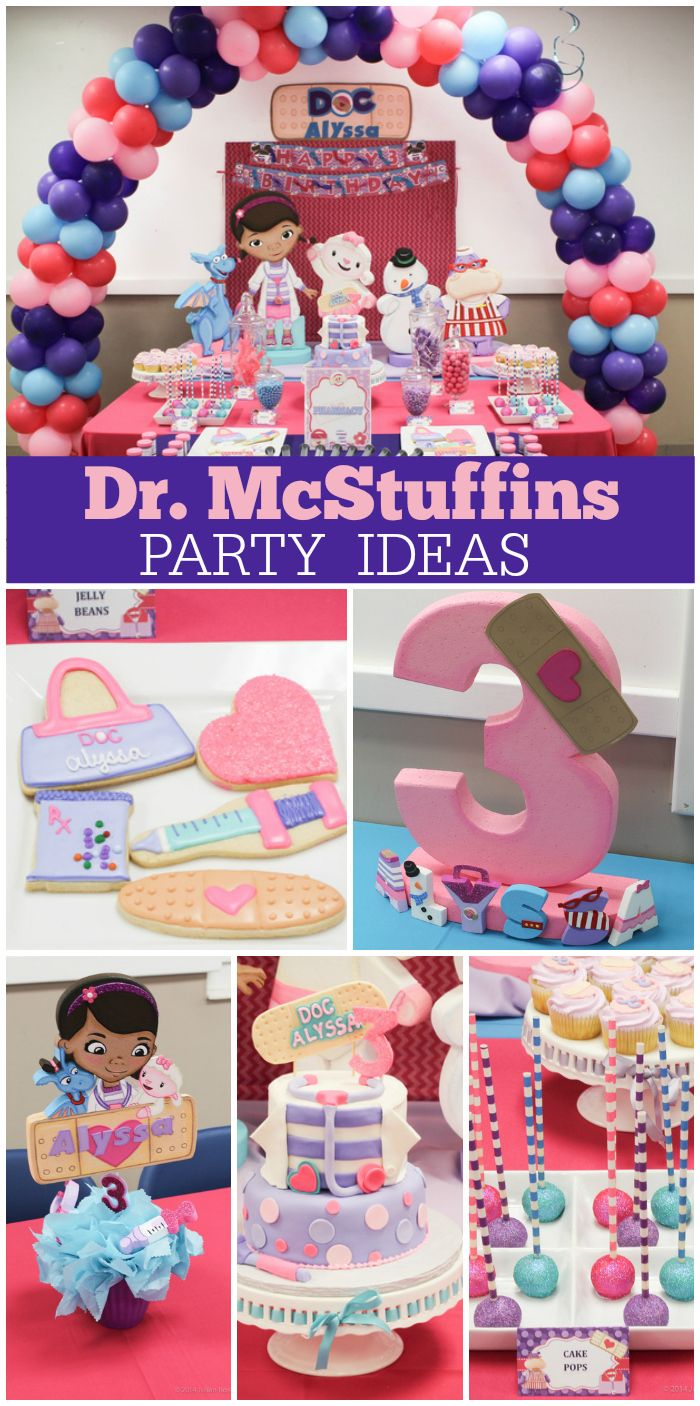 An adorable pink and purple Doc McStuffins birthday party with treats, birthday cake and great ideas!