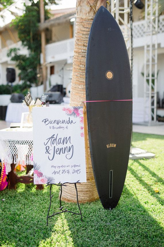 Our surfboard was custom made by @albumsurfboards and custom logo by @cocorrina.  Surf board guest book