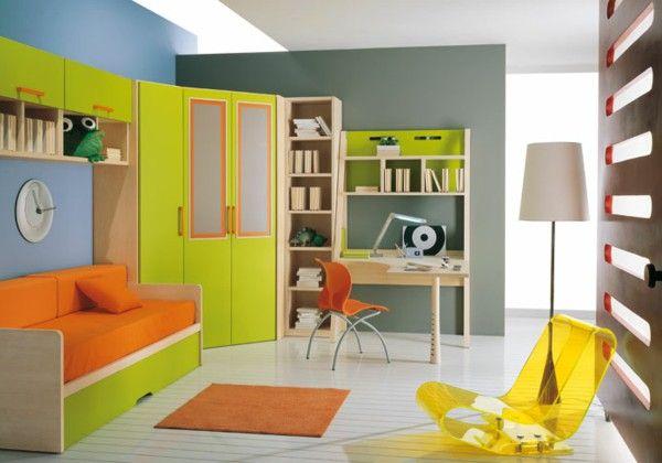 Children's idea of modern cabinet desk yellow orange blue