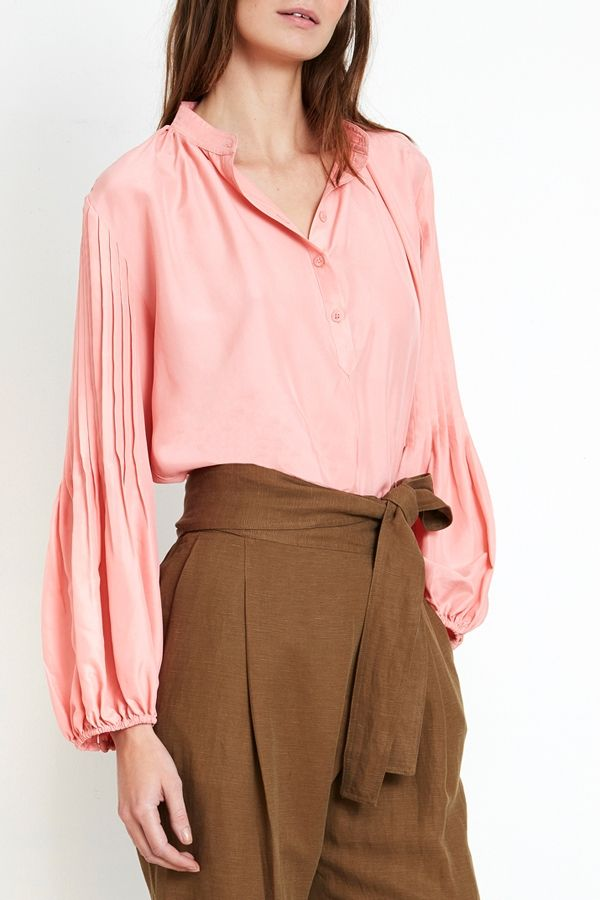 Apiece Apart pintuck blouse-a great look for a buttoned down office look.