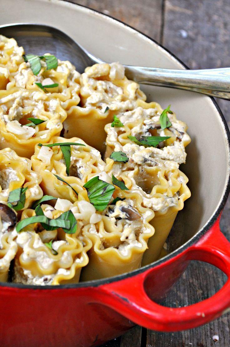 Vegane Trüffel-Ricotta-Pilz-Lasagne-Rollups
