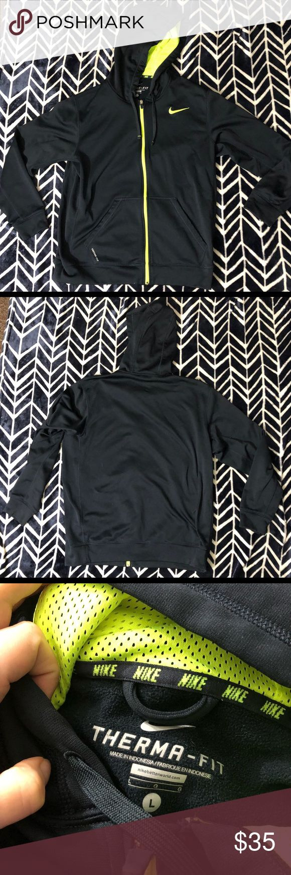 """Nike Zip Up Hoodie Men's size large Nike Dri-fit Zip Up Hoodie. Black with neon yellow accent. Excellent condition. No fading, pilling, holes or stains. The chest measures 23"""" flat across, the underarm sleeve length is 22"""" and this is 29"""" long from the tag. Nike Shirts Sweatshirts & Hoodies"""