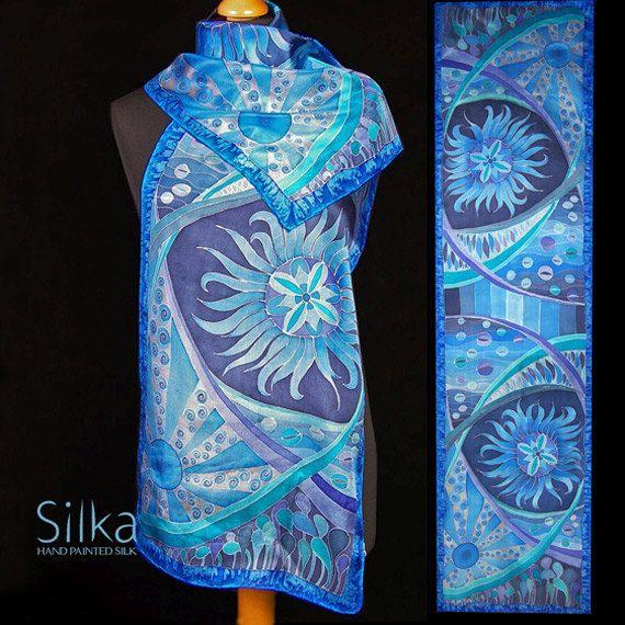 Blue silk scarf Hand painted silk scarf silk scarf by SilkaShop