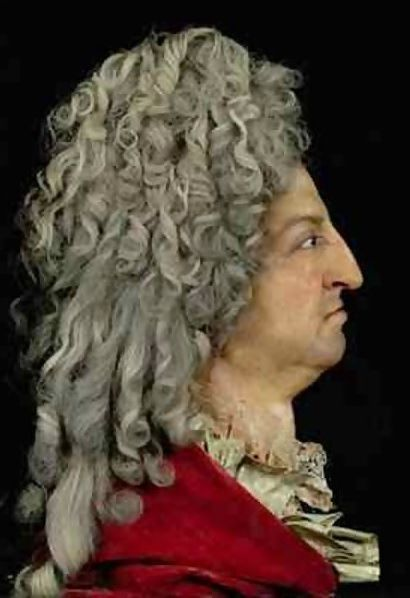 Louis XIV's 1706 wax portrait by Antoine Benoist at Versailles.