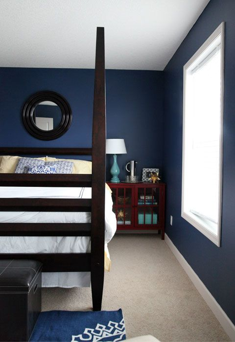 blue bedrooms bedding dark blue paddles black walls dark blue walls